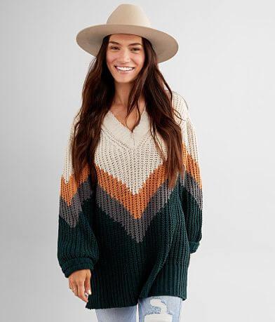 BKE Matte Chenille Chevron Sweater