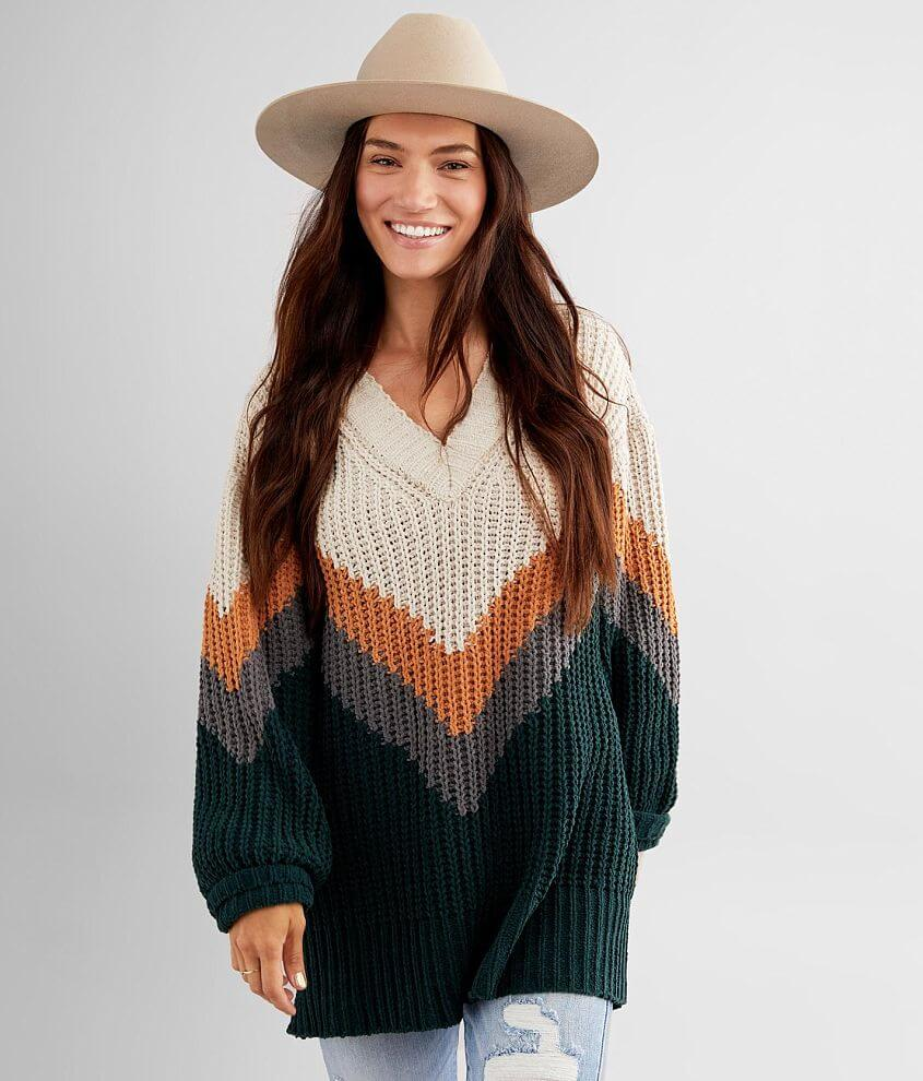 BKE Matte Chenille Chevron Sweater front view