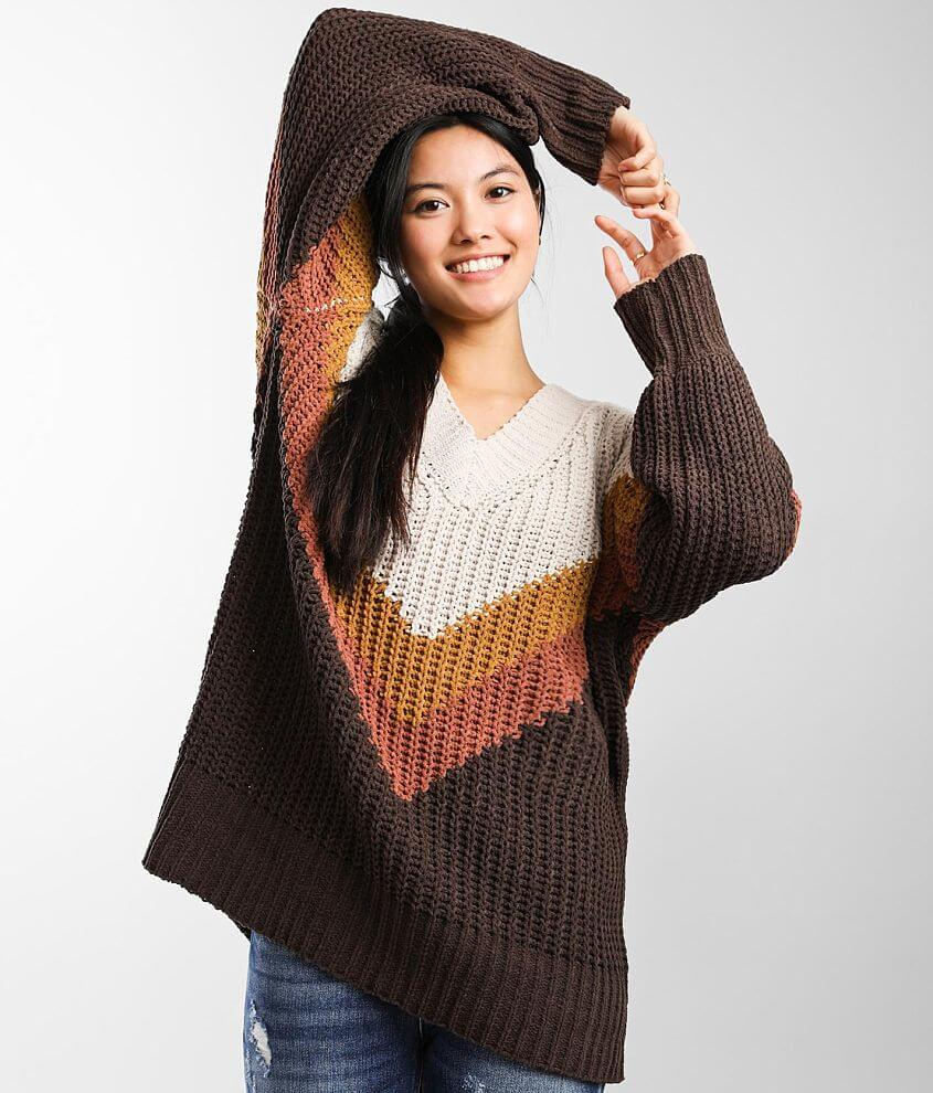 BKE Oversized Matte Chenille Sweater front view