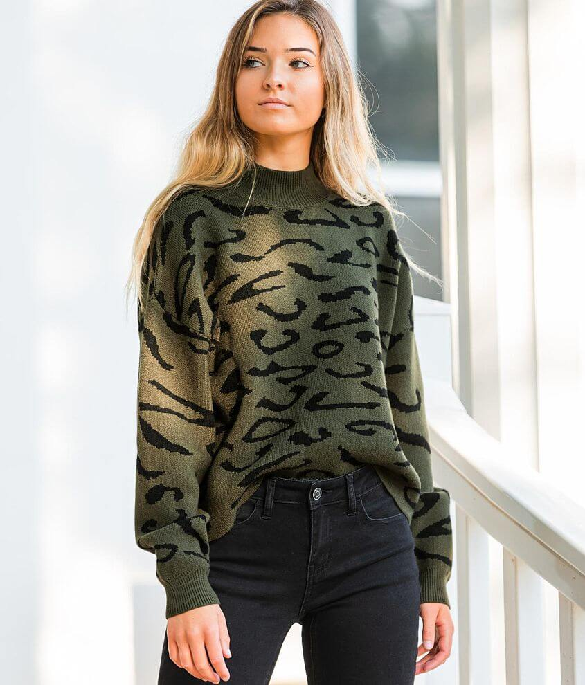 Willow & Root Abstract Leopard Sweater front view