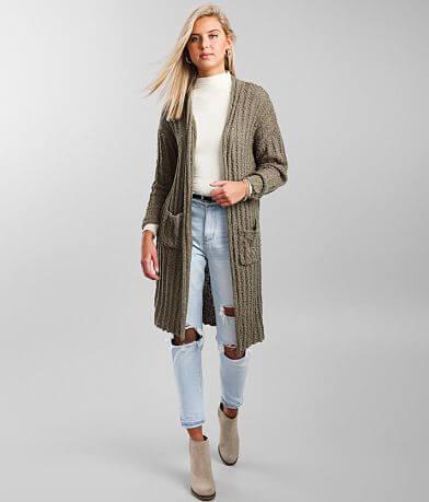 BKE Ribbed Popcorn Cardigan Sweater