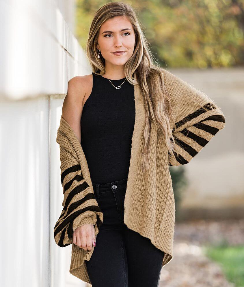 Willow & Root Varsity Stripe Cardigan Sweater front view