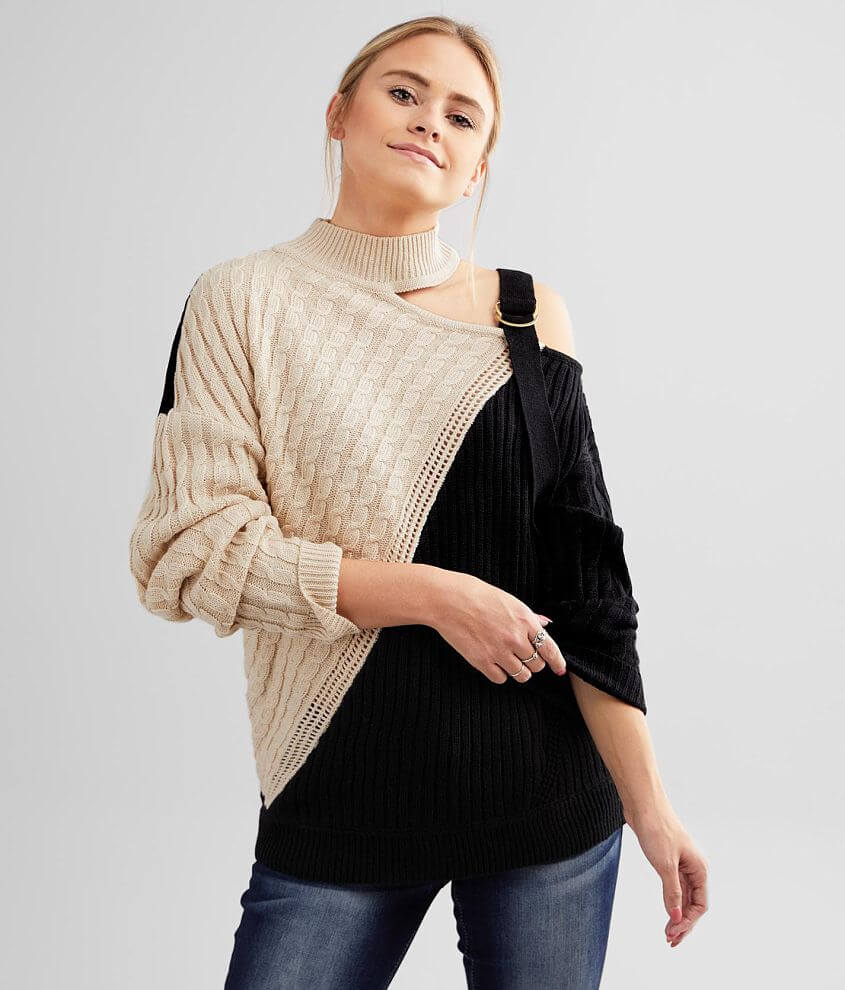 red by BKE Mock Neck Cold Shoulder Sweater front view