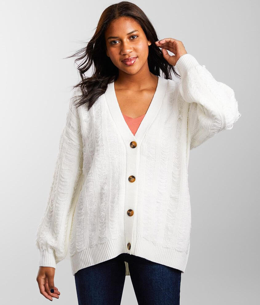 BKE Pulled Stitch Destructed Cardigan Sweater front view