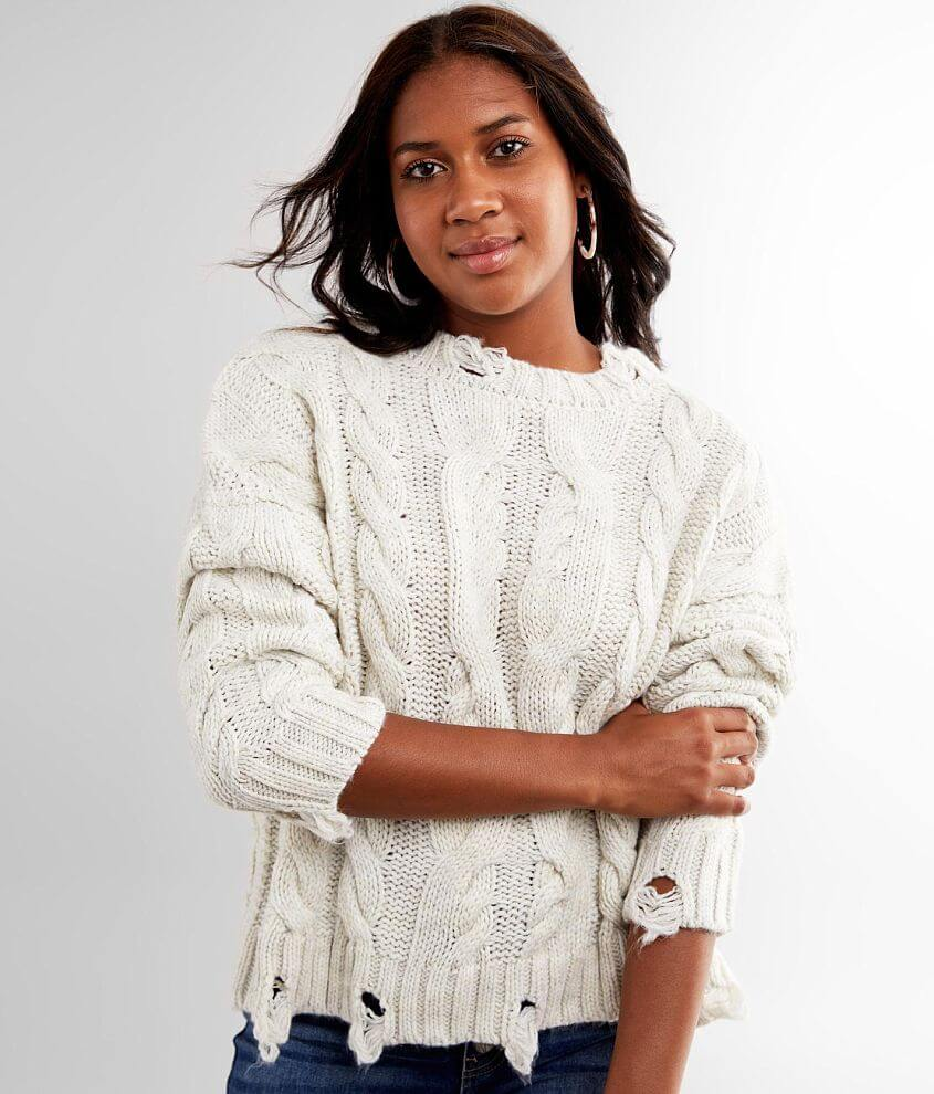 BKE Destructed Cable Knit Sweater front view
