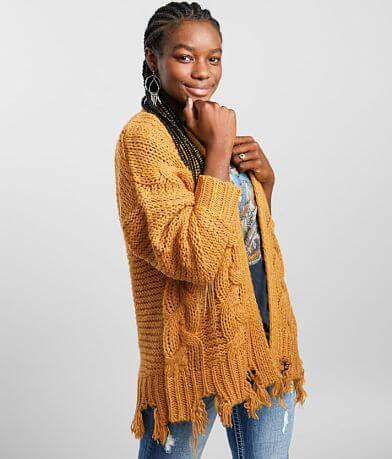 Gilded Intent Chunky Cable Knit Cardigan Sweater