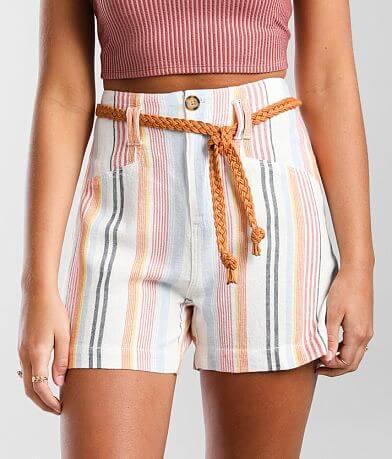BKE High Rise Woven Striped Linen Blend Short