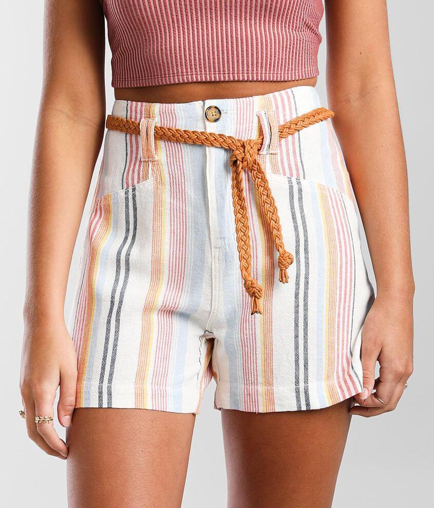 BKE High Rise Woven Striped Linen Blend Short front view