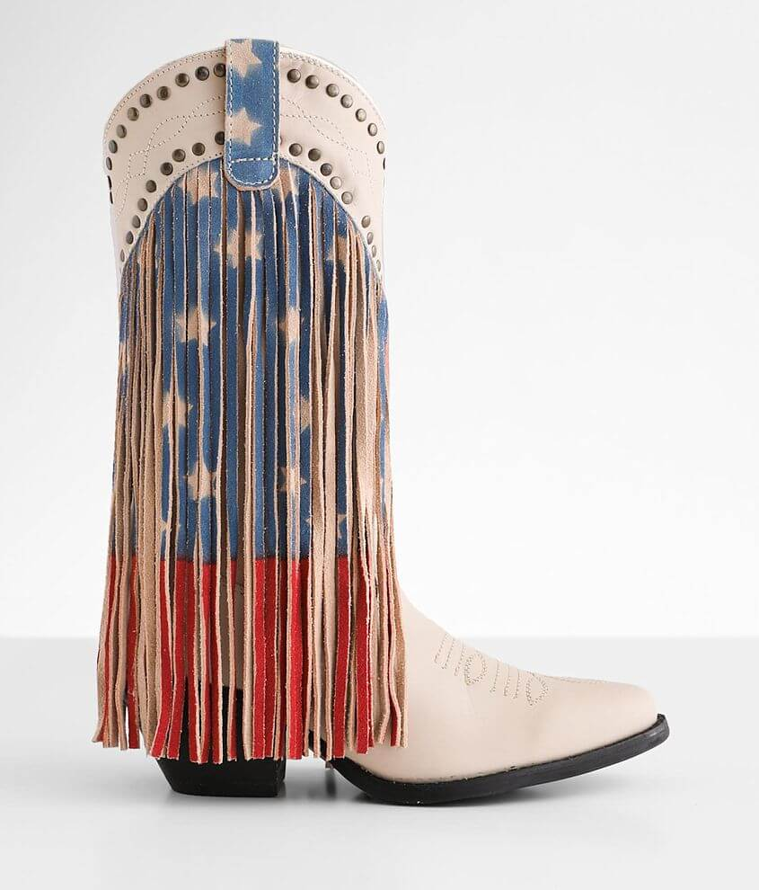 Dingo Born N' USA Leather Western Fringe Boot front view