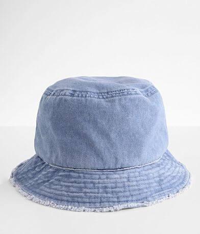 David & Young Frayed Denim Bucket Hat