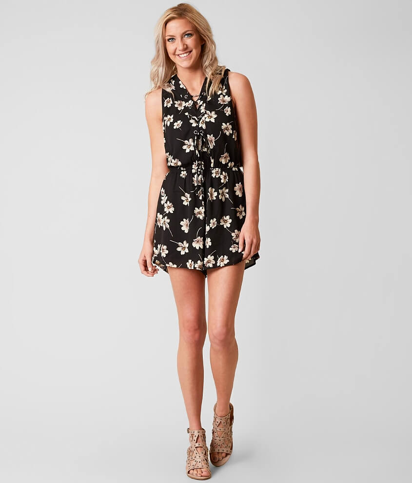 4c464fa3193d willow   root Floral Romper - Women s Rompers Jumpsuits in Black Floral
