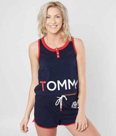 Tommy Hilfiger Cropped Henley Tank Top