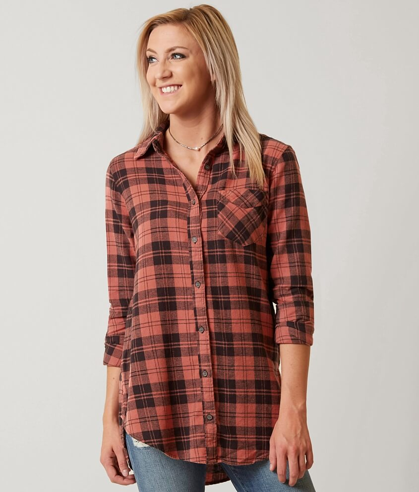 BKE Flannel Shirt - Women's Shirts/Blouses in Coral Black | Buckle