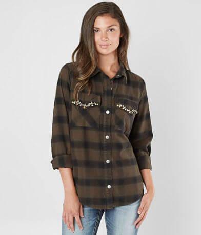 BKE Rhinestone Flannel Shirt