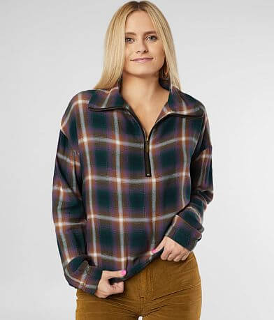BKE Half Zip Plaid Pullover