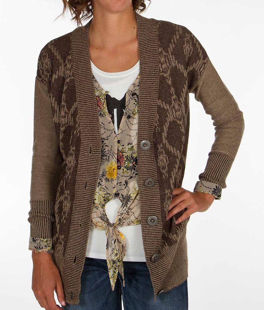 BKE Two-Tone Cardigan Sweater front view