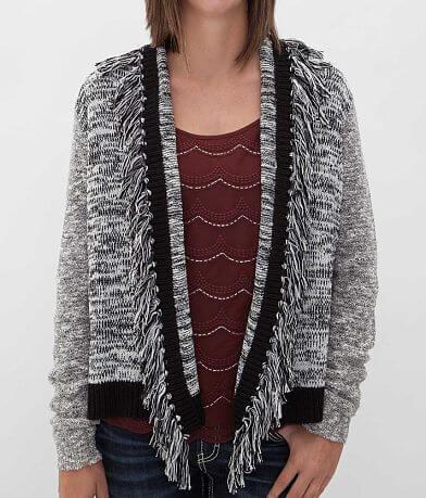 BKE Fringe Cardigan Sweater
