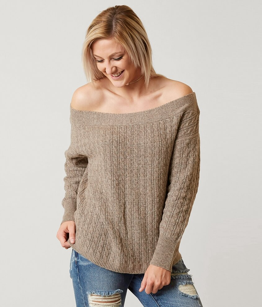 red by BKE Off The Shoulder Sweater - Women's Sweaters in Taupe ...