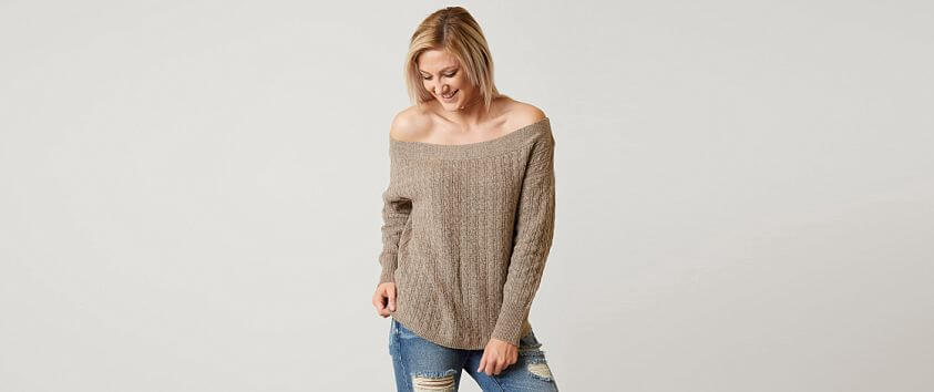 red by BKE Off The Shoulder Sweater front view