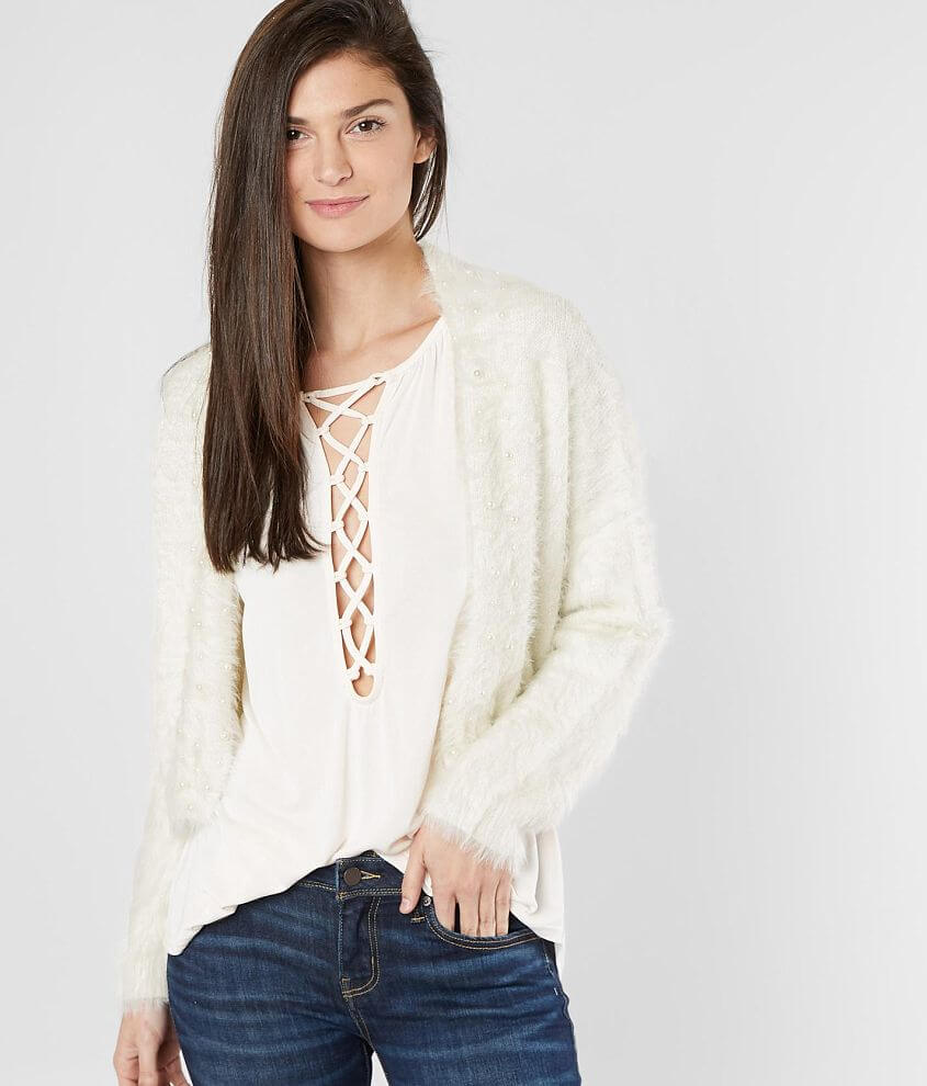 BKE Boutique Metallic Cardigan Sweater front view