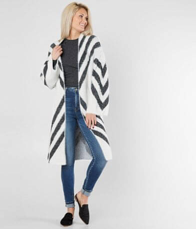 BKE Boutique Metallic Chevron Cardigan Sweater
