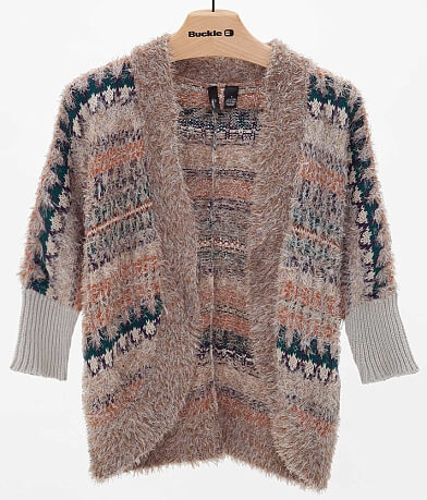 BKE Boutique Eyelash Yarn Cardigan Sweater