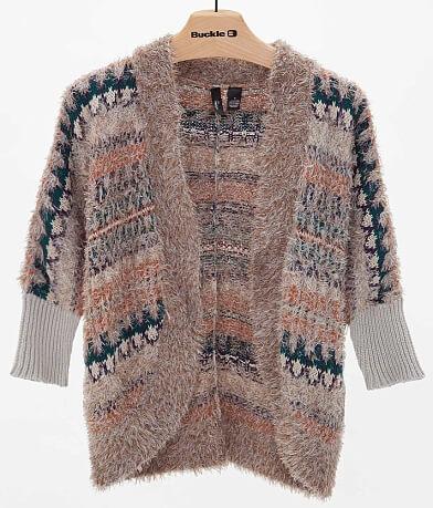BKE Boutique Eyelash Yarn Cardigan Sweater