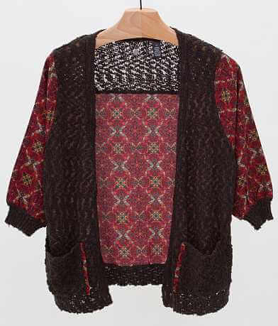 BKE Boutique Pieced Cardigan Sweater