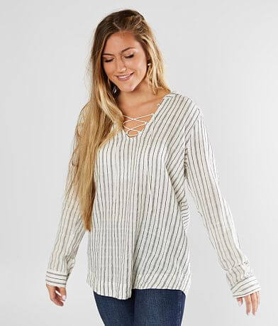BKE Striped Woven Top