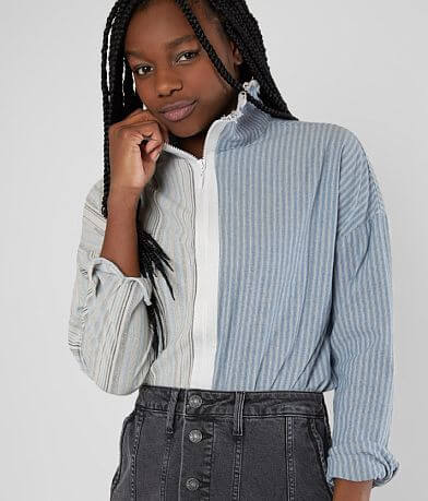 Gilded Intent Raw Edge Woven Striped Shirt