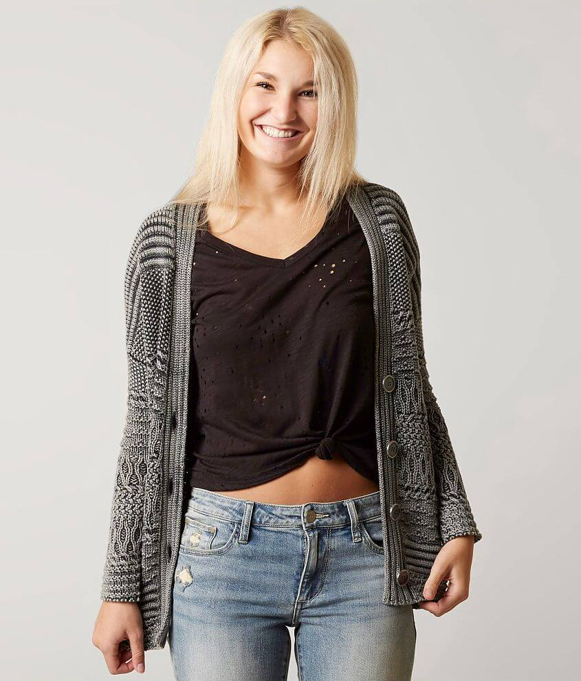 Gilded Intent Knit Cardigan Sweater front view