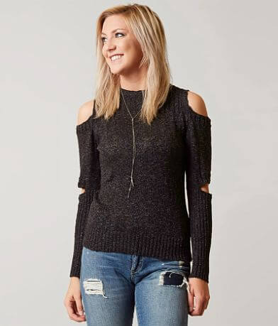 Gilded Intent Cold Shoulder Sweater