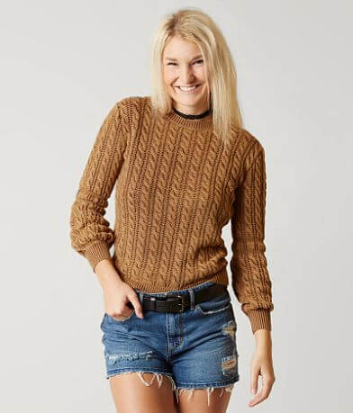 Gilded Intent Cable Knit Sweater