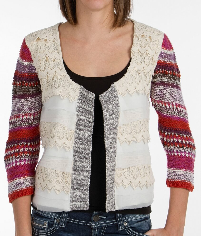 Gimmicks Pieced Lace Cardigan Sweater - Women's Cardigans in Cream ...
