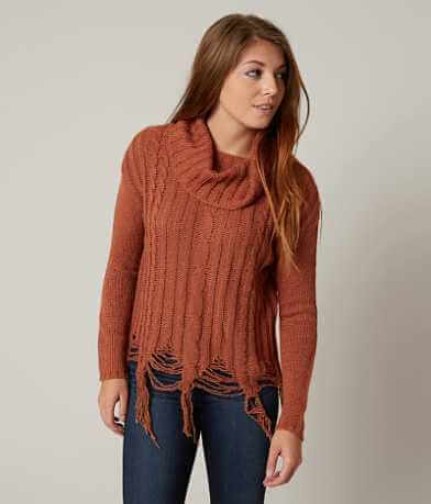 Gimmicks Shredded Cowl Neck Sweater