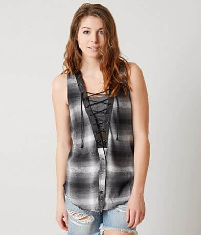 Gimmicks Plaid Lace-Up Top
