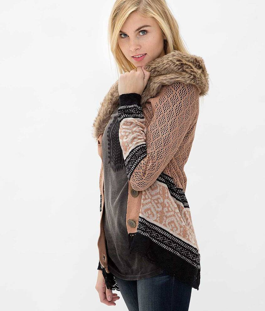 Gimmicks by BKE Faux Fur Cardigan Sweater front view