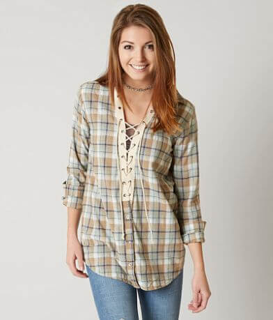 Gimmicks Lace-Up Plaid Shirt