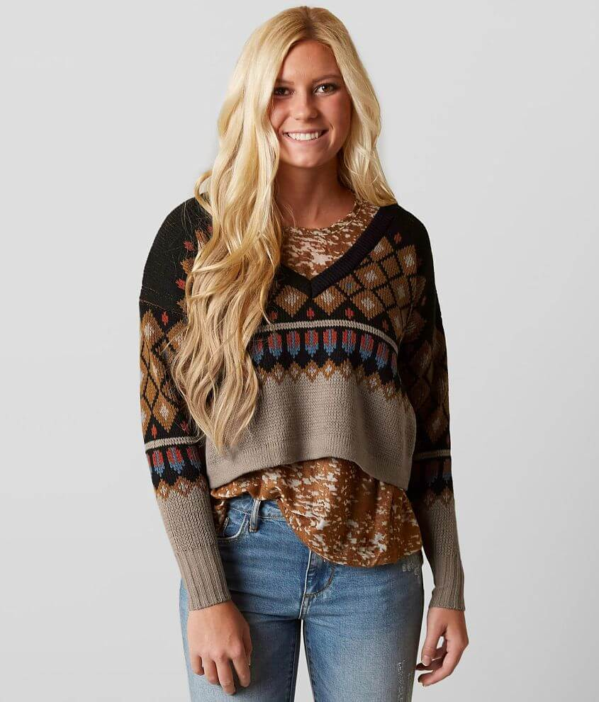 Style GMKDN2551/Sku 602904 Open weave v-neck sweater Body length 19\\\