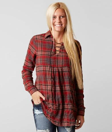 Gimmicks Plaid Tunic Top