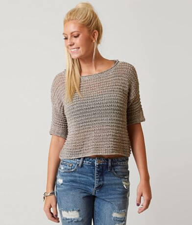 Gimmicks Open Weave Cropped Sweater
