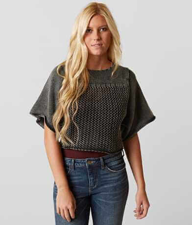 Gimmicks Cropped Open Weave Sweater
