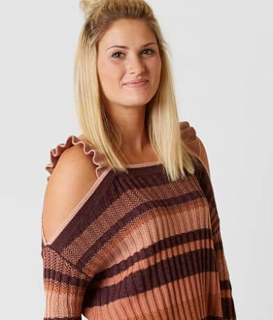 Gimmicks Ribbed Cold Shoulder Sweater