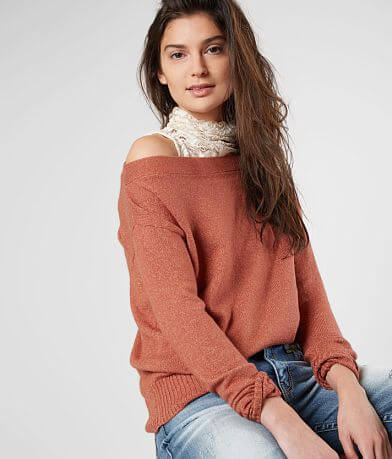 Buckle Black One Shoulder Sweater