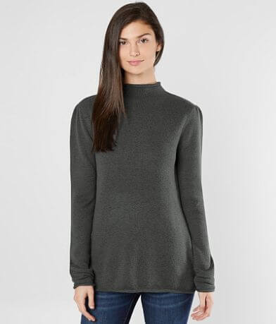 Buckle Black Mock Neck Sweater