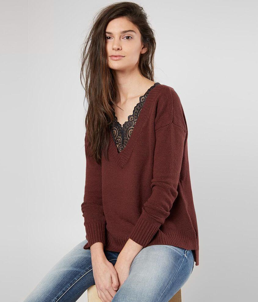 Buckle Black V-Neck Sweater front view