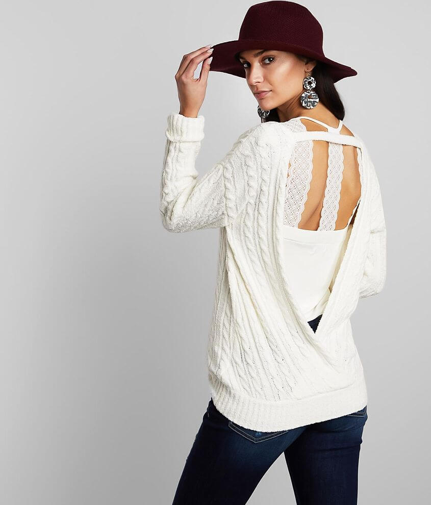 Buckle Black Back Surplice Sweater front view