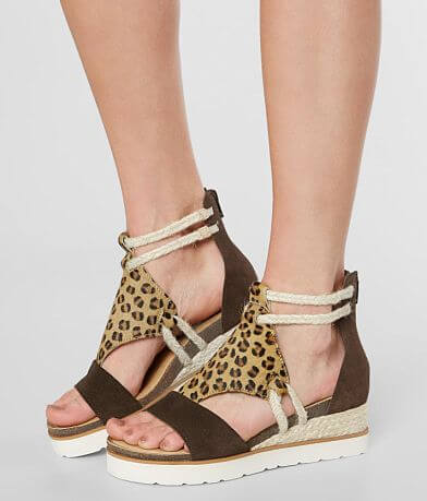 Diba True Leopard Leather Wedge Sandal