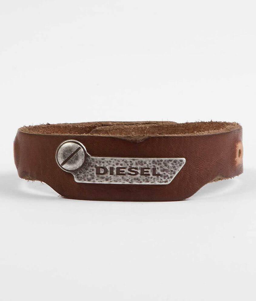 85880f8135713 Diesel Leather Bracelet - Men's Accessories in Brown | Buckle