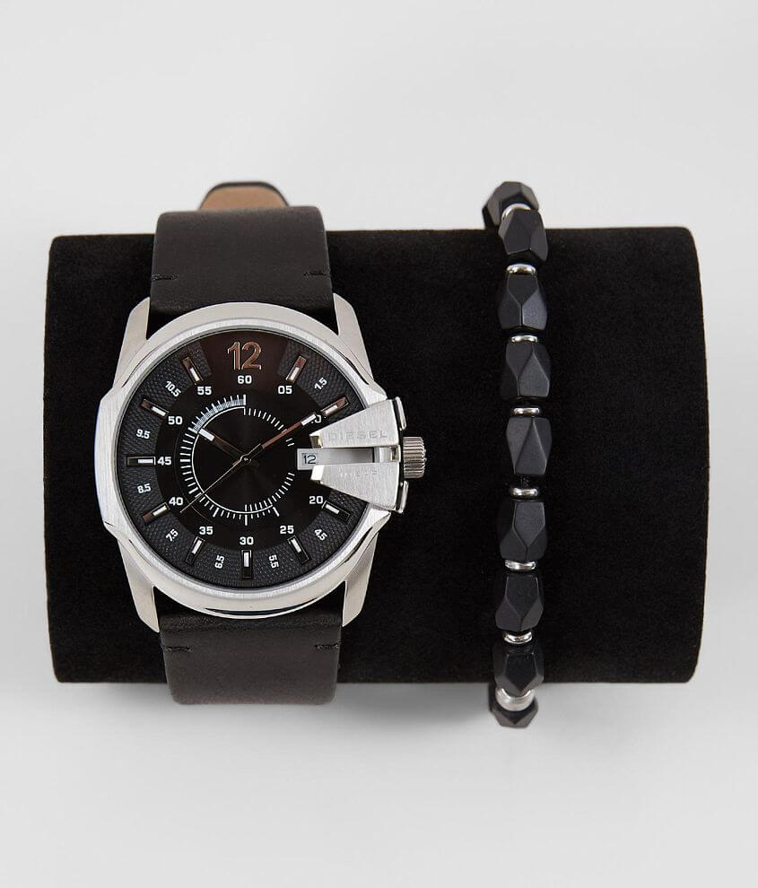 Diesel Mega Chief Leather Watch & Bracelet Set front view